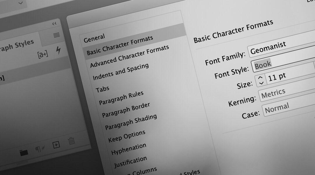 Grafisk Blog - ændr standardfont i InDesign